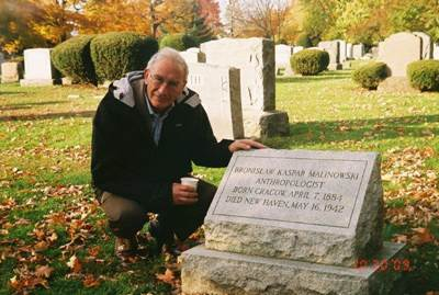 Professor Adam Kuper at Malinowski's grave in New Haven, Connecticut