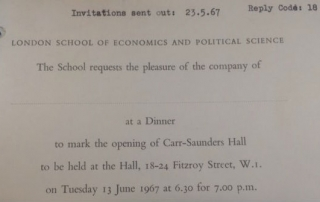 Carr-Saunders Hall opening dinner invitation