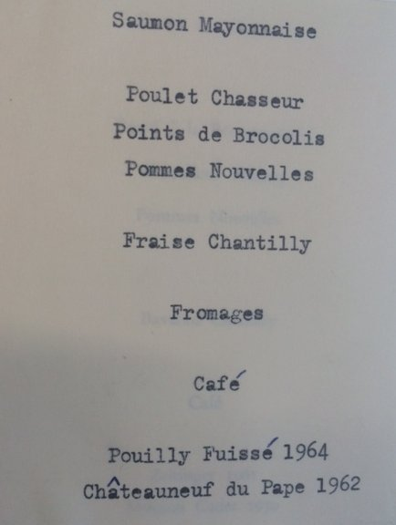 Menu for dinner at the opening of Carr-Saunders Hall, 1967. Credit: LSE