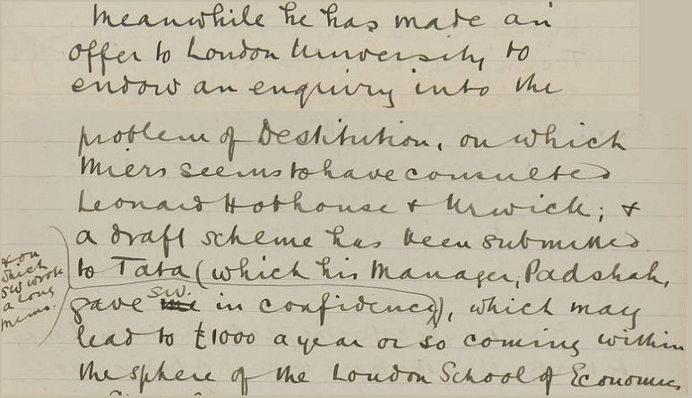 Beatrice Webb's diary excerpt 1912. Credit: LSE Digital Library