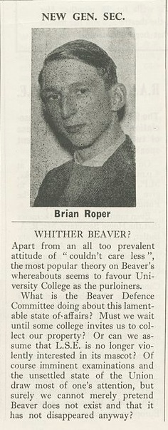 Brian Roper announced general secretary, notice of the beaver's disappearance - Beaver Feb 6 1958. Credit: LSE Library