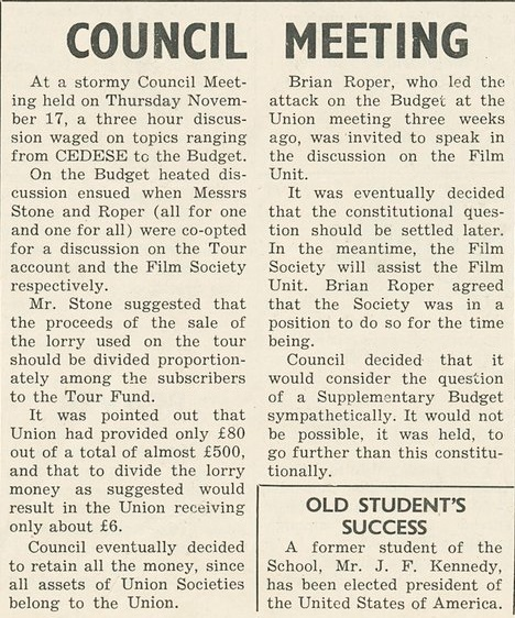 Brian Roper council meeting and JFK presidency announcement - Beaver 24 Nov 1960. Credit: LSE Library