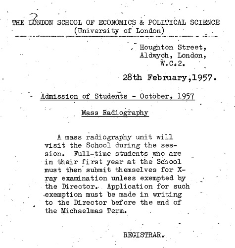 Mass radiography notice - from student file M Symons. Credit: LSE
