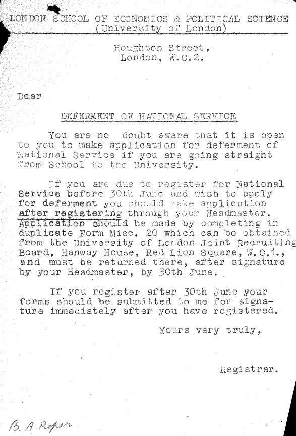 National service statement - from student file B A Roper. Credit: LSE