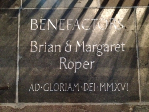 Roper stone at Bath Abbey. Credit: Bath Abbey