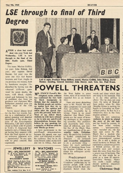 Beaver 9 May 1968 - LSE through to final of Third Degree. Credit: LSE Digital Library