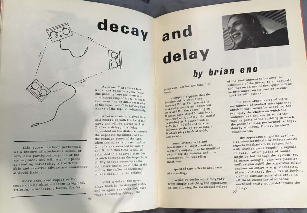 Musician Brian Eno's experimental score in the summer issue of 1968