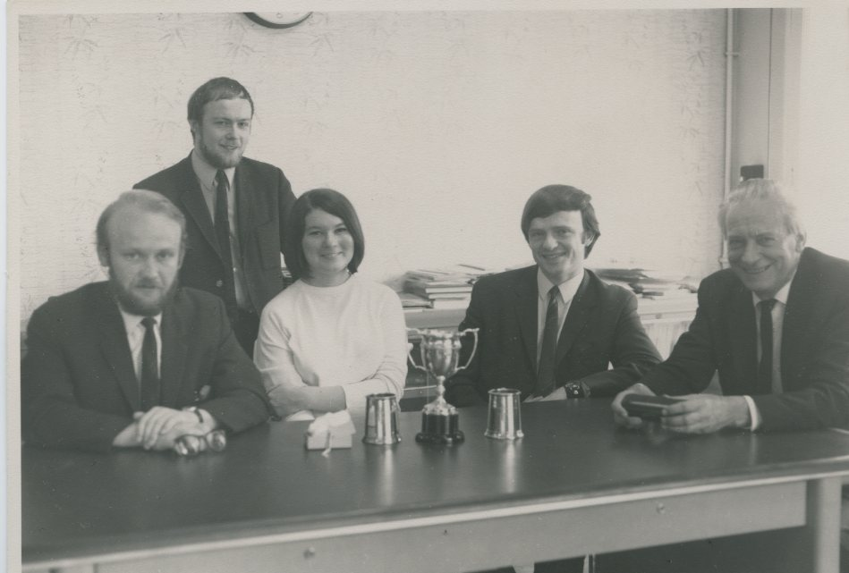 LSE's Third Degree team with trophies. Credit: LSE Library