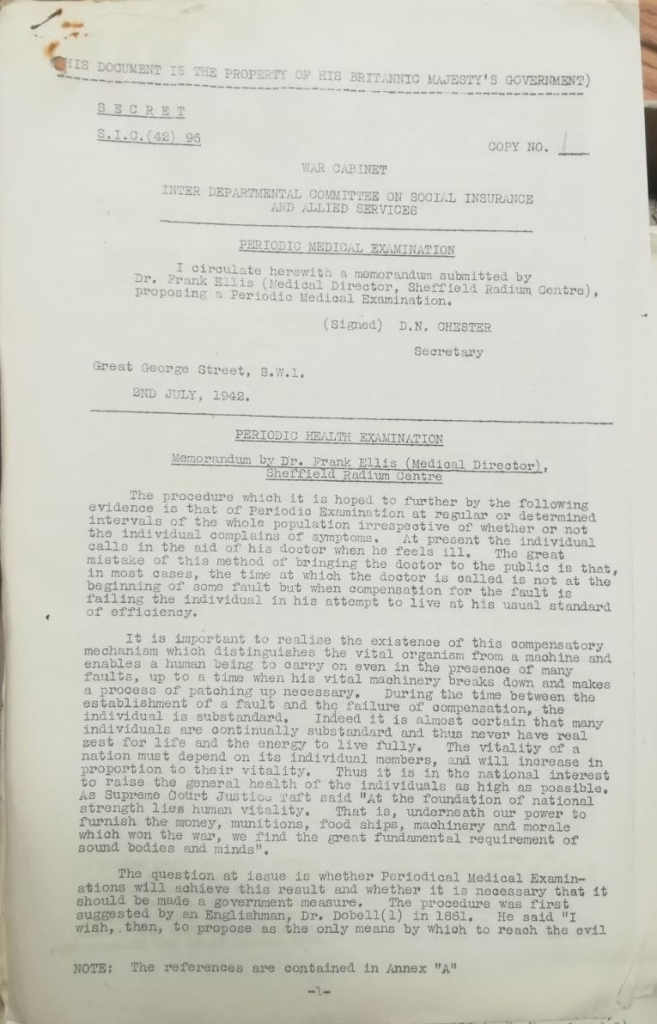 Memoranda from Dr Frank Ellis, 1942. Credit: LSE Library