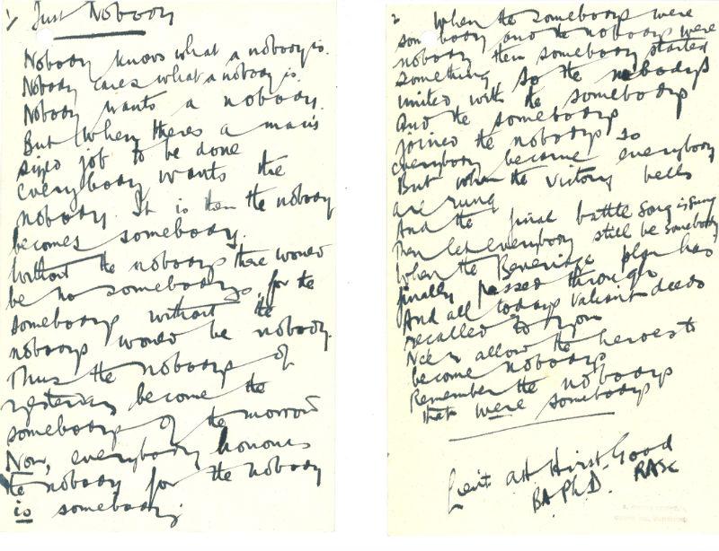 Poem sent to Beveridge 1943. Credit: LSE Library
