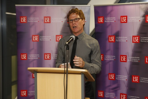 The sculptor Michael Brown speaking at the Bluerain reception in the LSE New Academic Building. 6th October 2009