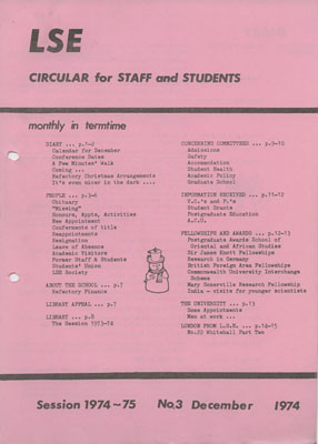 Staff and Student Circular, December 1947 (LSE Unregistered 27 8 3)