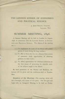 Summer school 1896-style (LSE Unregistered 27 4 1)