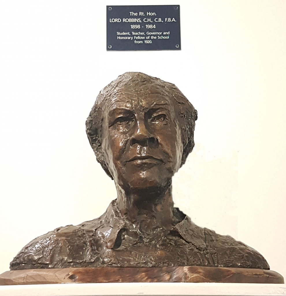 Bust of Lionel Robbins on display in LSE Library. Credit: Sue Donnelly