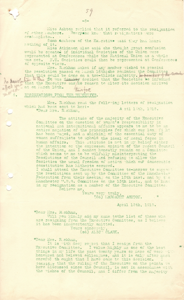 Alice Clark's resignation from NUWSS, 1915. Credit: LSE Library