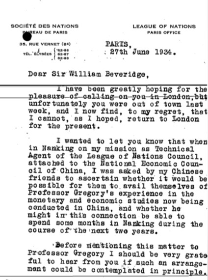 Letter from Ludwik Rajchman to LSE suggesting Gregory could go to China