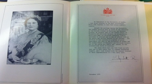 Publicity material for the Library Appeal featuring HM the Queen Mother. Credit: LSE Library