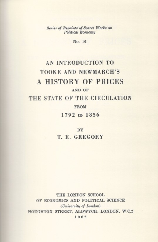 Title page of the LSE reprint of the Introduction to Tooke and Newmarch