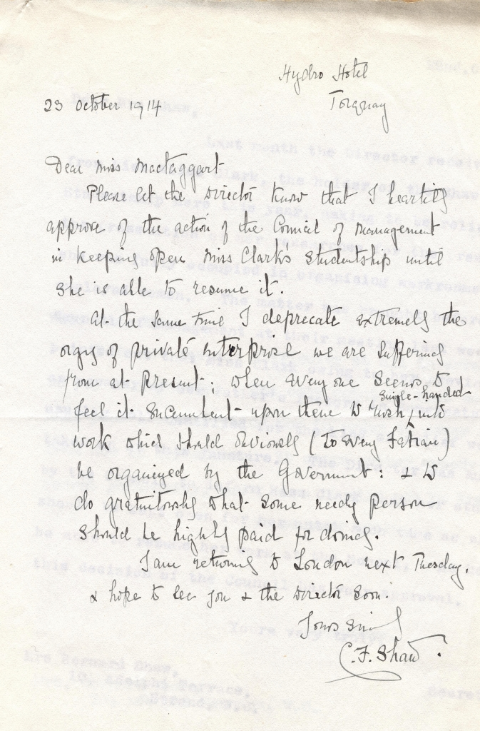 Letter from Charlotte Shaw to Christain MacTaggart, 1914. Credit: LSE Library
