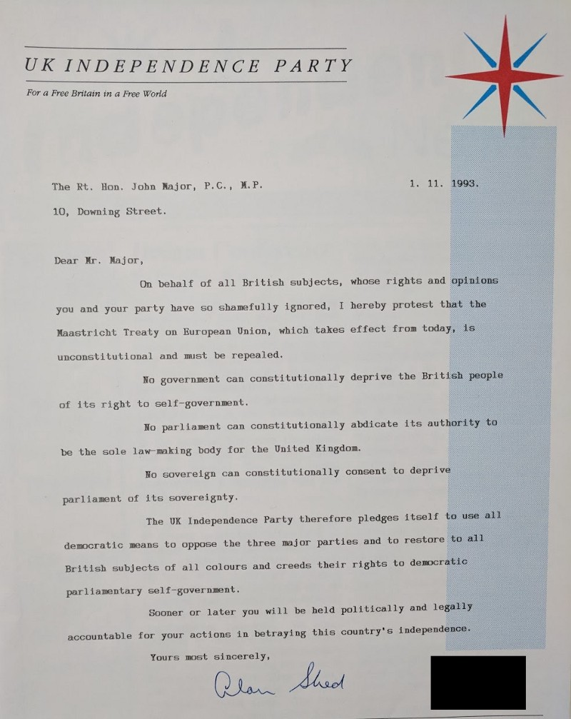 Letter from Alan Sked of UKIP to John Major, 1 November 1993. Credit: LSE Library