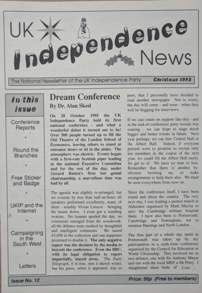 UK Independence news, Christmas 1995. Credit: LSE Library