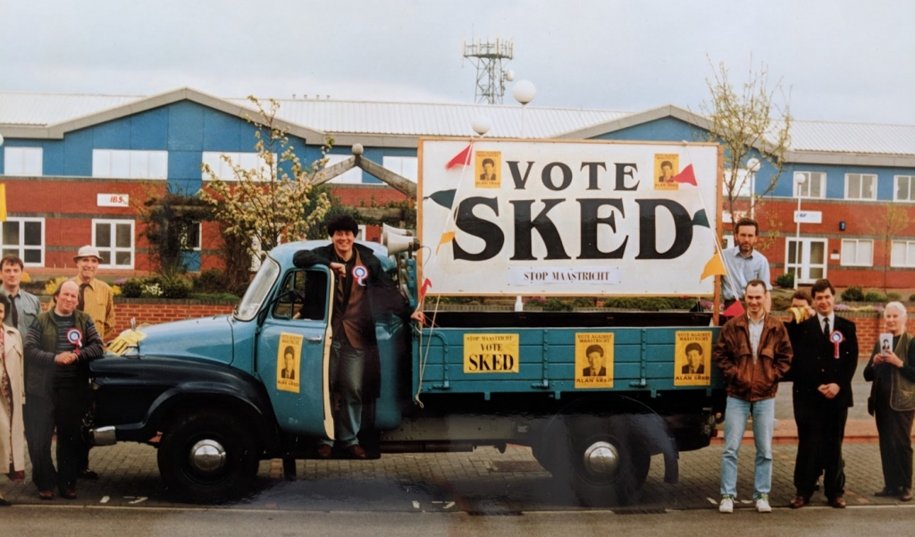 """Photograph of Sked's """"battle bus"""" during the Newbury by-election 1993. Credit: LSE Library"""