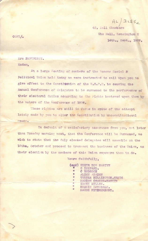 Letter to Emmeline Pankhurst, Sep 1907
