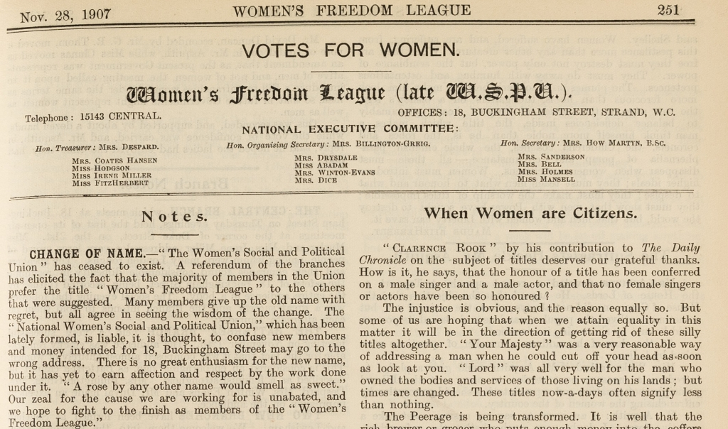 The Women's Franchise 28 November 1907