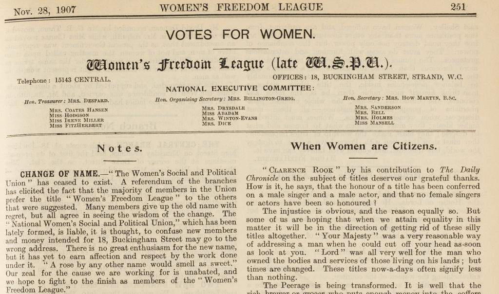 The Women's Franchise 28 November 1907