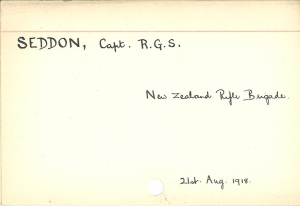 Killed in action index card for R G S Seddon