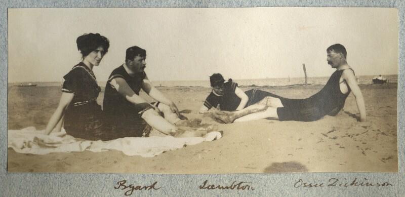 Lady Ottoline Morrell; Theodore Byard; John Frederick Lambton, 5th Earl of Durham; Goldsworthy Lowes Dickinson, by Philip Edward Morrell, vintage snapshot print, August 1908. Credit: NPG