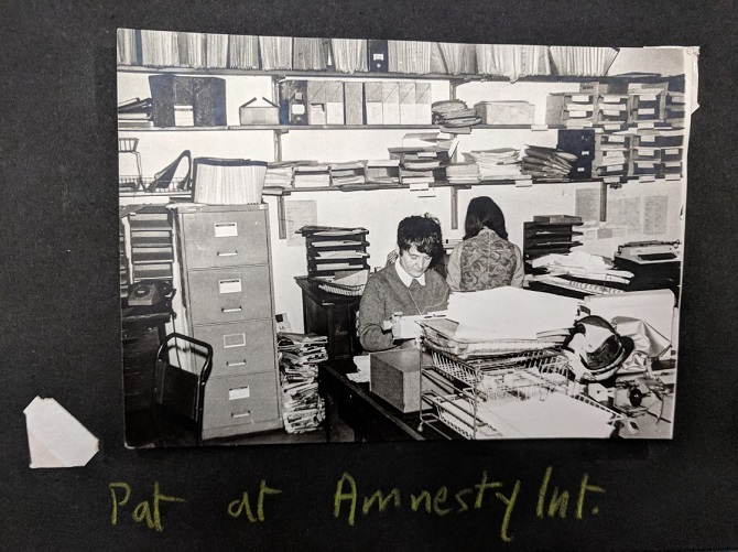 Pat Arrowsmith working at Amnesty International. Credit: LSE Library