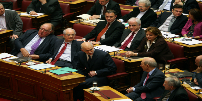 PASOK_MPs_in_the_Greek_parliament_during_2009_budget_discussion