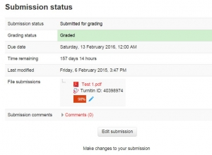 Student view of turnitin submission