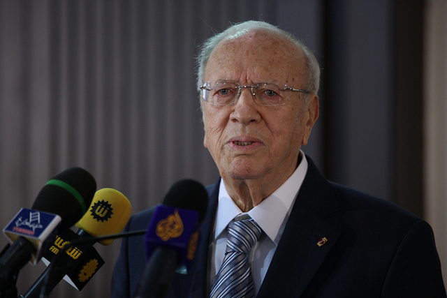 Béji Caid Essebsi, Tunisian Prime Minister, 2011. Copyright: Human Rights for All FIDH.
