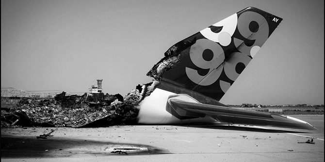 Libyan Governmental Plane destroyed by a NATO attack, Tripoli International Airport. Copyright: Il Fatto Quotidiano, 2011.