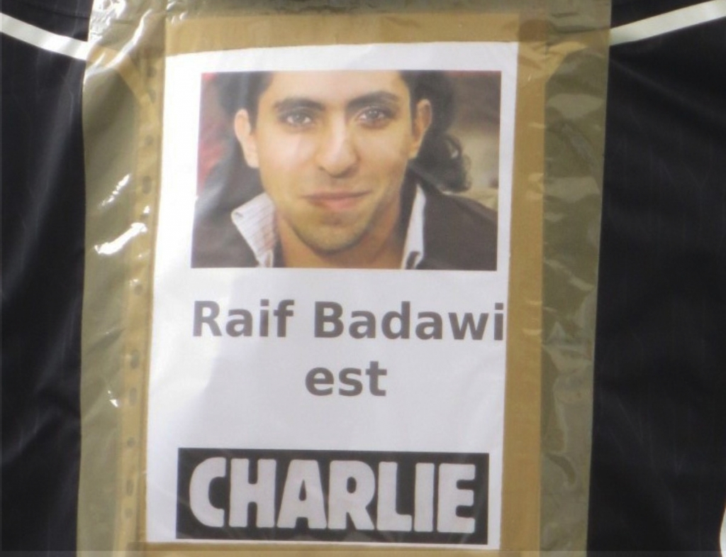 Raif Badawi is Charlie, seen during the Republican marches in Paris, 11 January 2015