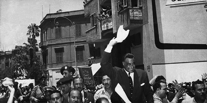 Gamal Abdel Nasser cheered in Cairo after announcing the Suez Canal Company, August 1, 1956.