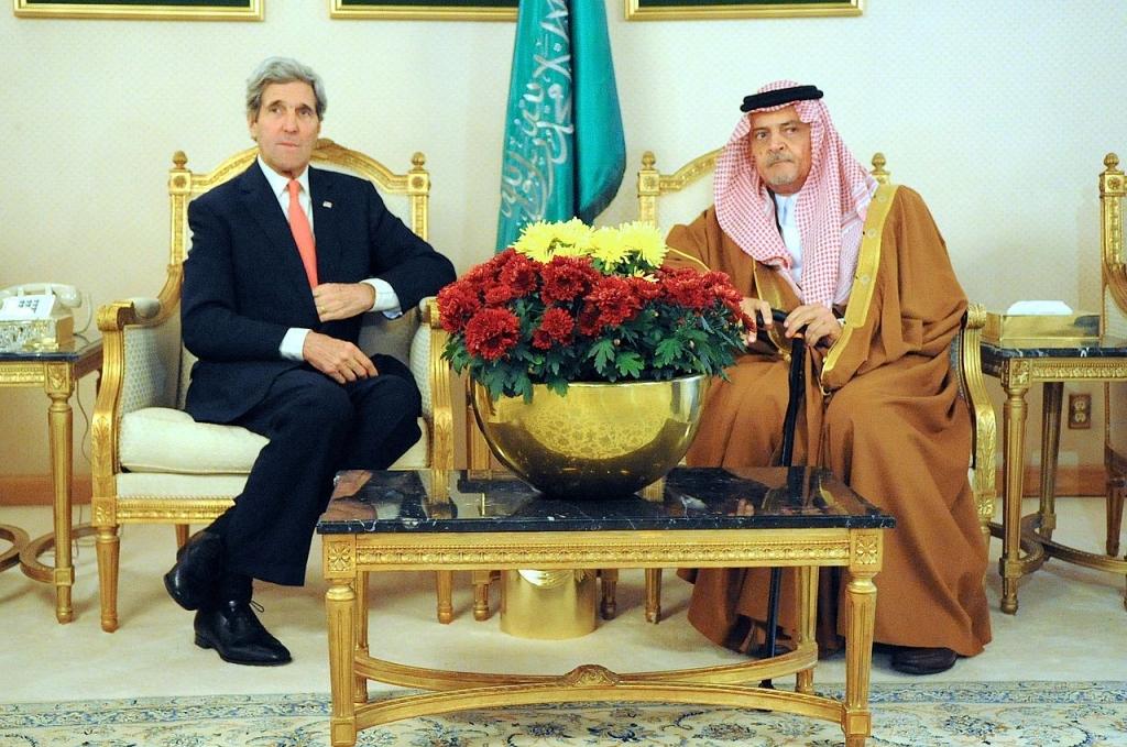 U.S. Secretary of State John Kerry with Saudi Foreign Minister Crown Prince Saud bin Faisal bin Abdulaziz Al Saud.