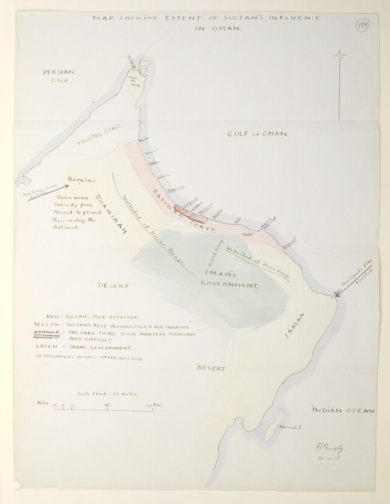 'Map showing extent of Sultan's influence in Oman' Hand-drawn sketch map by Major G.P. Murphy, Political Agent, Muscat, 1928.