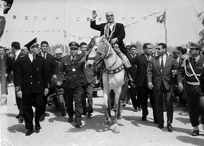 Bourguiba around the streets of Tunis, June 1955.