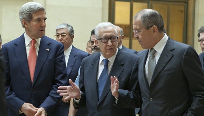 Secretary of State John Kerry, Russian Foreign Minister Sergey Lavrov, and UN Special Envoy Lakhdar Brahimi held a trilat at the United Nations Office at Geneva September 13, 2013 focused on advancing Geneva 2 talks on Syria.