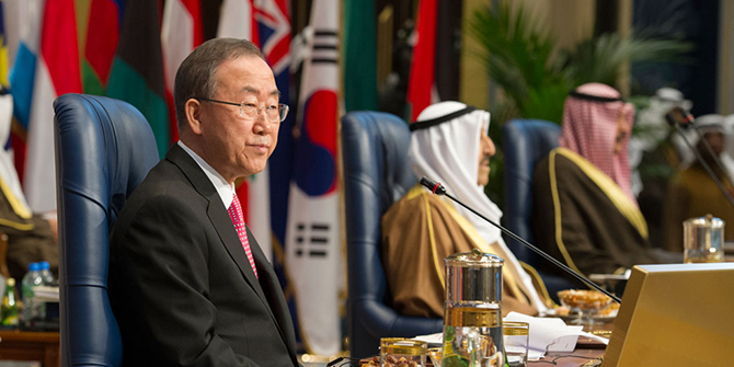 Secretary-General Ban Ki-moon (left) at the opening of the International Humanitarian Pledging Conference for Syria in Kuwait City, 2014. UN Photo/Eskinder Debebe
