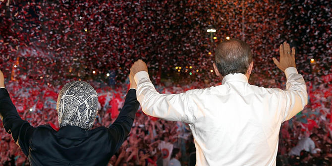 Recep Tayyip Erdoğan and his wife, Emine Erdoğan, at the Ankara Rally on 8 August 2015. Source: http://www.akparti.org.tr/