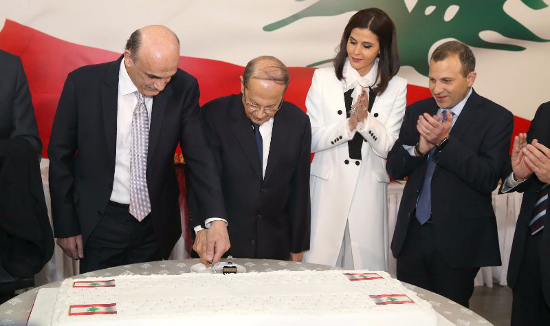 Samir Geagea nominates Michel Aoun for presidency during a ceremony in Merab. © Aldo/Lebanese Forces