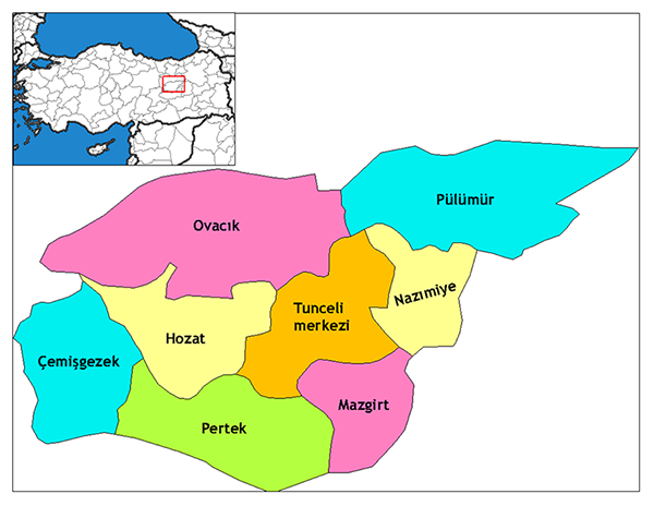 Map 2: Districts of the modern city of Tunceli