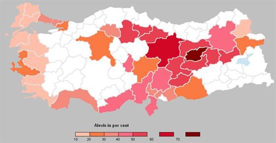 Map: 3 Alevi population distribution in Turkey