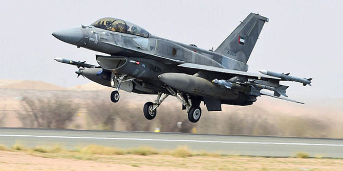 UAEAF F16E Block 60 taking off to conduct airstrikes on Houthi targets. Author or copyright ownerEmirates News Agency (WAM)