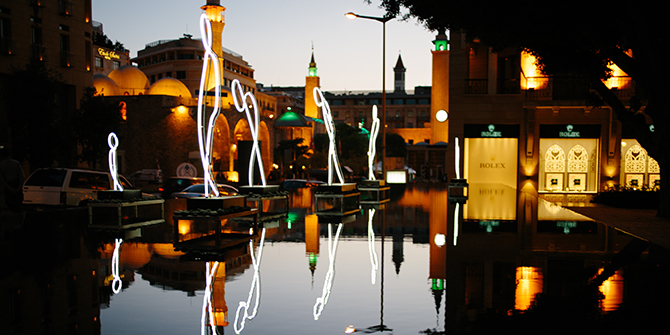 My Light is your Light', light installation by Alaa Minawi paying tribute to Syrian refugees who are enduring painful living conditions. The exhibition travelled to different cities in the Middle East and Europe. Shown here at Beirut Spring Festival (May–June 2015). Photograph by: Kristian Secher.