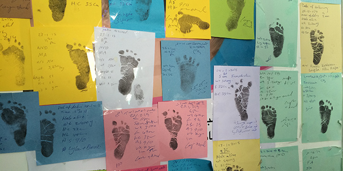 Every birth in Azraq camp is documented with a footprint announcing their arrival. © EU/ECHO/Caroline Gluck